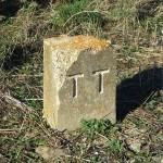 """En las inmediaciones de esta estación se pueden observar algunos vestigios de la época  ferroviaria como este mojón con las letras """"TT"""": Tudela a Tarazona."""